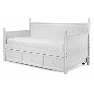 Casey II Wood Daybed with Ball Finials and Roll Out Trundle Drawer, White Finish, Twin (B002HWRGVK) | Amazon Products
