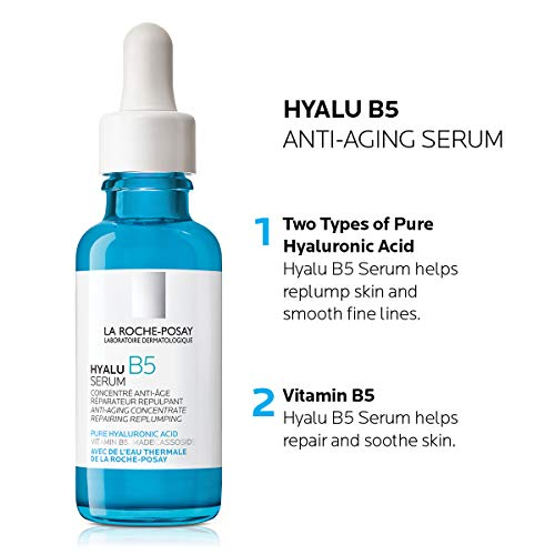 41y0xJDDqiL - La Roche-Posay Hyalu B5 Pure Hyaluronic Acid Serum for Face, with Vitamin B5. Anti-Aging Serum Concentrate for Fine Lines. Hydrating, Repairing, Replumping. Suitable for Sensitive Skin, 1.01 Fl. Oz.