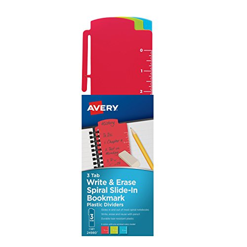 Avery Spiral Slide-In Plastic Bookmark Dividers,, 3 Tabs, 1 Set, Write & Erase, Assorted Colors (24980)