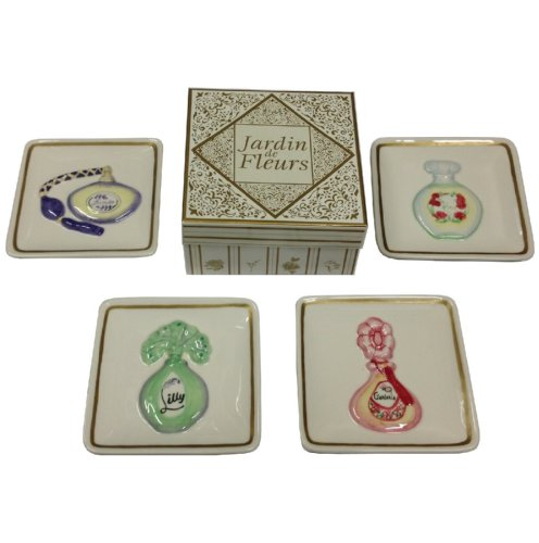 (Manual Jardin De Fleurs Perfume Mini Plates, Rose Lavender Lilly Rose - Set/ 4)