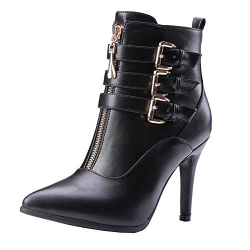 Boots Carolbar Heel Modern Short Zip Buckle Women's Stiletto Black High Concise ZIZwSrx