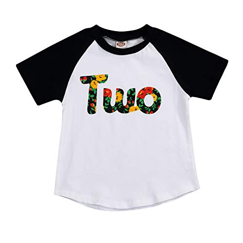 (2nd Birthday T-Shirt Toddler Kids Girls Outfits Two Year Old Top Clothes (Two, 2-3)