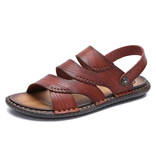 (Dig dog bone Men's Ankle Strap Sandals Open Toes Slippers Slip on Microfiber Leather Lined Buckle Studs Closure Shoes (Color : Brown, Size : 7.5 D(M) US))