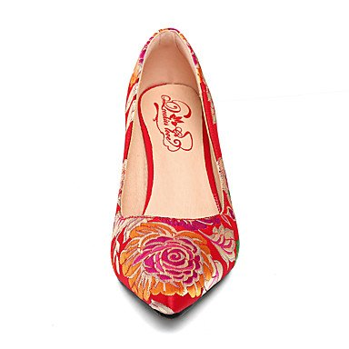 Talones de las mujeres Primavera Verano Otoño zapatos de la comodidad de seda bordado banquete de boda y vestido de noche del tacón de aguja rojo púrpura flor que recorre Red