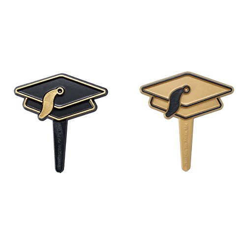 Gold and Black Graduation Hat Cupcake Picks - 24 pc