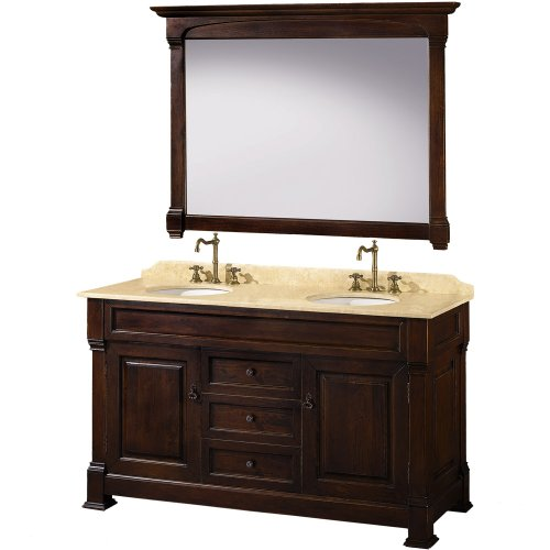 Wyndham Collection Andover 60 inch Double Bathroom Vanity in Dark Cherry with Ivory Marble Top with White Undermount Sinks (Carved Double Sink Vanity)