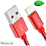 Metal iPhone Charger Cord [Apple MFi Certified], Foxsun 3.3 FT/1M Metal Braided USB Lightning Cable Cords for iPhone Xs MAX/XR/XS/X/8/7/7Plus/6/6Plus/6S/6S Plus/5/5S/5C/SE,iPad Pro/Air/Mini (Red)