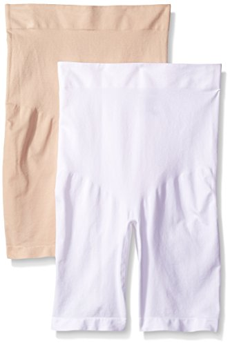 Ellen Tracy Women's Seamless Shape High Waisted Long Leg Bottom Shaper Panty, White/Sun Beige, X-Large