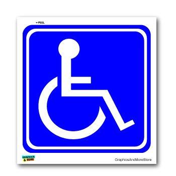 Disabled wheelchair symbol blue handicapped window bumper laptop sticker