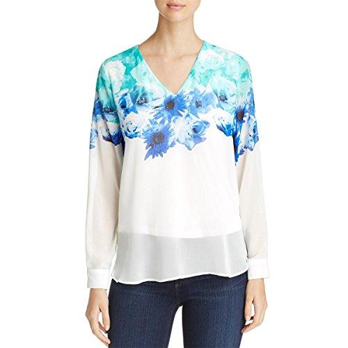 Calvin Klein Print Pullover (Calvin Klein Womens Floral Print Long Sleeves Pullover Top Green M)