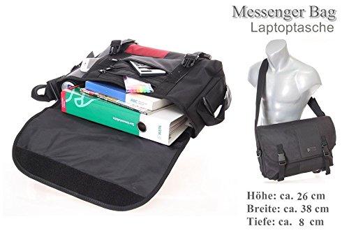 Bolsa de hombro vuelo compañero bolso business Messenger Bag bolso trabajo (Negro) multicolor negro Schwarz-Rot-Grau