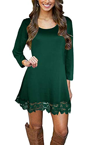 Afibi Women's Long Sleeve A-Line Lace Stitching Trim Casual Dress (Small, Dark