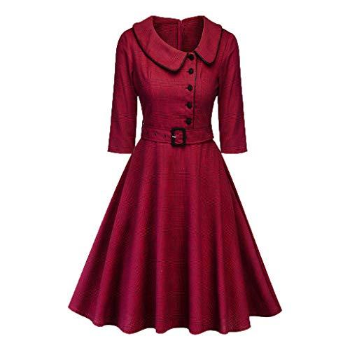 (♛TIANMI 2019 Spring Deals!Women Formal Vintage Dress, Princess Plaid Peter Pan Collar Irregular Party Swing Dress Wine Red)