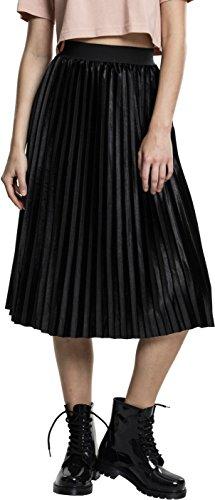 Urban Classics Ladies Velvet Plisse Skirt, Jupe Femme Noir (7)