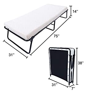 Leisuit Rollaway Guest Bed Cot Fold Out Bed – Portable Folding Bed Frame with Thick Memory Foam Mattress for Spare…