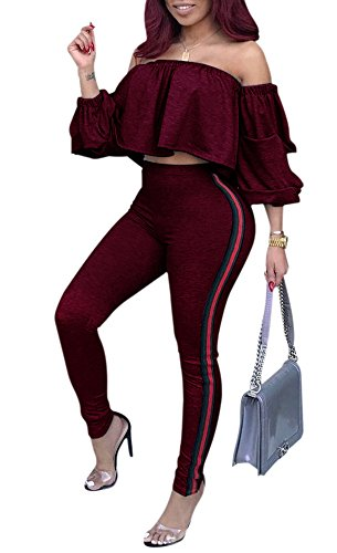 Remelon Womens Sexy Off Shoulder Ruffle Puff Sleeve Striped Bodycon 2 Piece Outfits Jumpsuits Crop Top and Pants Set Wine L