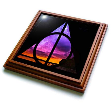 3dRose Tory Anne Collections Art - Harry Potter Deathly Hallows Magical Sunset Galaxy Stars - 8x8 Trivet with 6x6 ceramic tile (trv_288492_1)