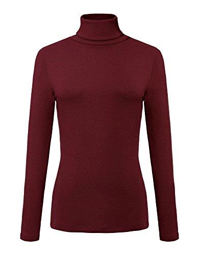 Urban CoCo Women's Solid Turtleneck Long Sleeve Sweatshirt (M, Wine Red)