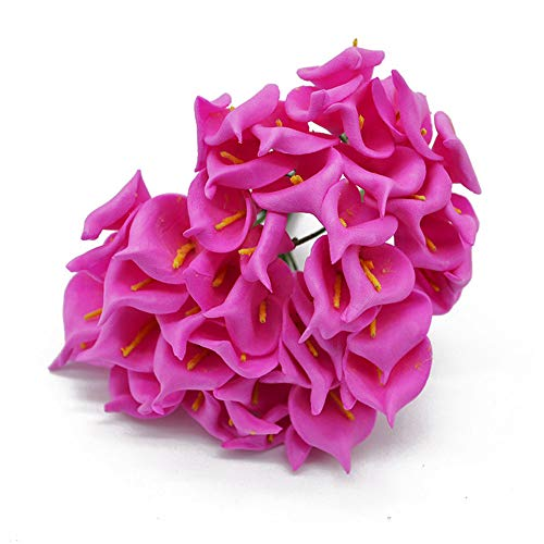 YONGSNOW 144pcs Calla Lily Bridal Wedding Bouquet Foam Real Touch Artificial Flower Home Party Decoration (Rose red)