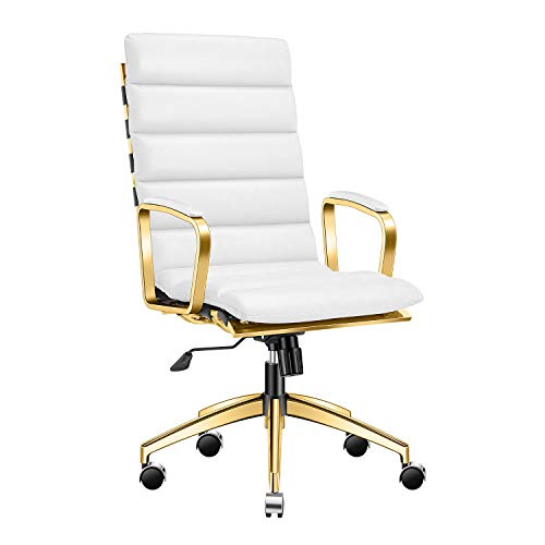 LUXMOD Deluxe (Gold) Office Chair, High Back Desk Chair for Extra Back and Lumbar Support, White Executive Chair, Ribbed…