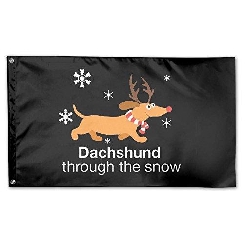 Dachshund Through The Snow Christmas Weiner Dog Garden Flag