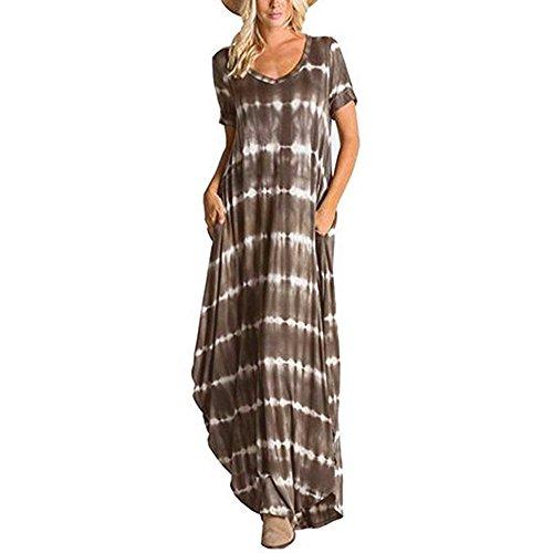 TnaIolral Women Dresses Striped Short Sleeved Pocket Split Irregular Hem Long Beach Skirt -