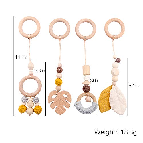 Let's Make 4 PC Wooden Ring Baby Teether Activity Nursing Game Gym Rattle Pendant Toy Organic Non-Toxic Environmental Sense Sensory Toys Newborn Gift