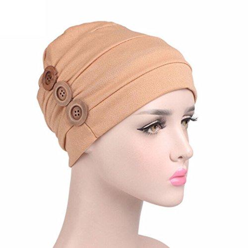 [Iuhan Fashion Ruffles Cancer Chemo Hair Loss Hat Beanie Scarf Turban Head Wrap Cap (Khaki)] (1920s Gangsters Fashion)