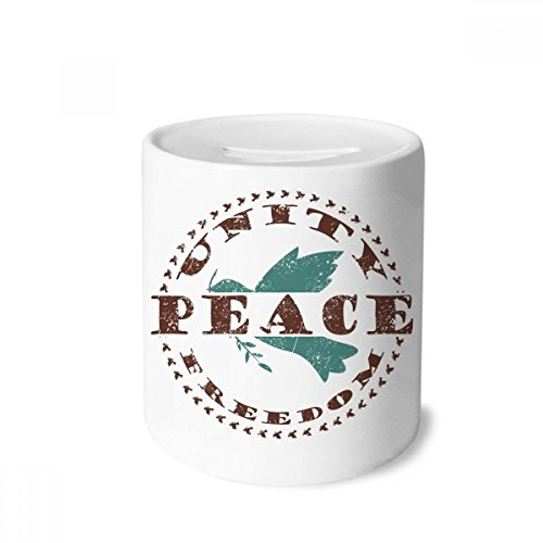DIYthinker Olive Branch Peace Freedom Symbol Money Box Saving Banks Ceramic Coin Case Kids Adults