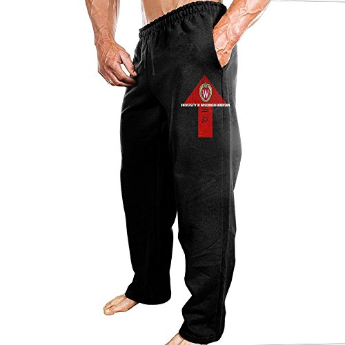 (TONGY Men's University Of UW Wisconsin Logo Soft Hiking Particular Sweatpants Leisure Wear Size M)