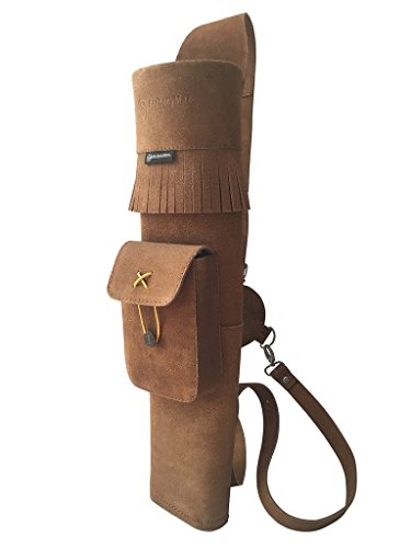 ArcheryMax Traditional High-grade Handmade Brown Suede Back Arrow Pot Quiver Three Fixed-back Archery Product for Hunting (20 Inches)