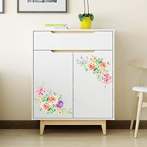 Amazon.com: Batop Colorful Flowers 3D Wall Stickers - Beautiful Peony Fridge Stickers - Wardrobe Toilet Bathroom Decoration PVC Wall Decals/Adhesive: Home & ...