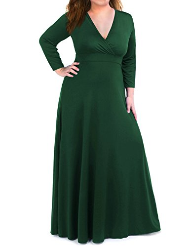 Moonlisa Plus Size Maxi Dress For Women With 3/4 Sleeves Deep V Neck Solid Color Wedding Evening Party Dress (XX-Large, Dark Green)