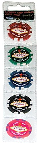 Value Pack of 5 Las Vegas Poker Chip Refrigerator Magnets