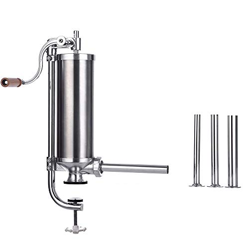 (Sausage Stuffer - 5LBS Stainless Steel Vertical Homemade Meat Stuffing Filling Kitchen Machine Attachment, With 8 Stuffing Tubes, Commercial and Household Use )