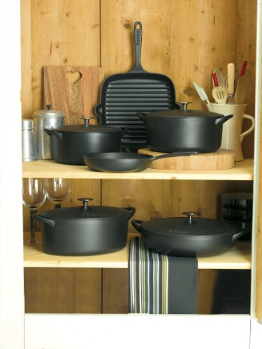 Denby Cast Iron Round Covered Casserole, 3-Liter, Black