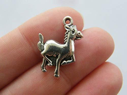 6 Horse Charms Antique Silver Tone A722
