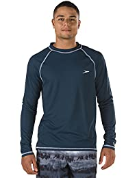 Men's Easy Long Sleeve Swim Tee,Cyan