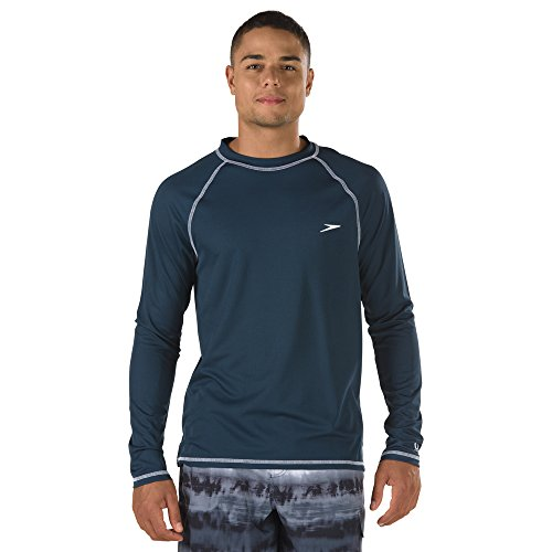 (Speedo Men Easy Long Sleeve Swim Tee, New Navy, Medium)