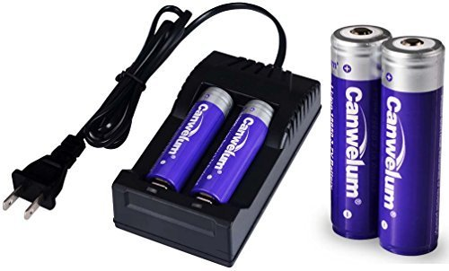 Canwelum Protected 18650 Battery and Charger, 3.7V 18650 Li-ion Battery, Powerful 18650 Rechargeable Batteries - Applicable for Cree LED Flashlights, Headlamps or Laser Pointers, Not for E-cigarettes (4 x 18650 Batteries and 1 x Charger)