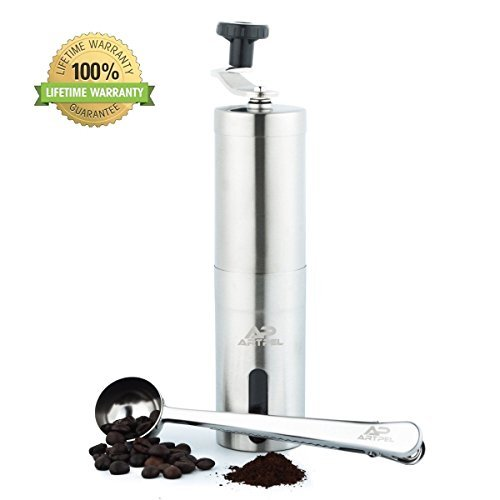 Manual Coffee Grinder With Adjustable, Conical Ceramic Burr– Supreme Grind Ergonomic Hand Crank Mill– Precision Easy To Clean & Carry– Perfect Gift- Stainless Steel Coffee Spoon Included