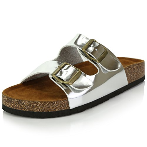 (DailyShoes Women's Fashion Buckle Flat Casual Adjustable Strap Sandal Shoes, Silver PU, 10 B(M) US)