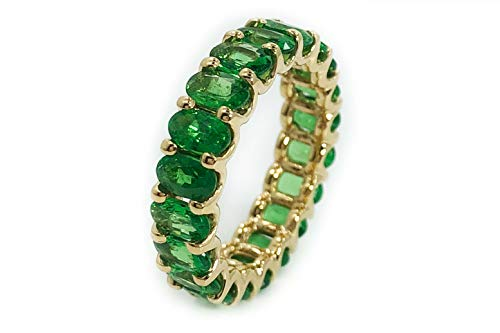 Albert Hern 5.09 ct Natural Tsavorite Garnet Eternity Ring 18kt Yellow Gold Band for Women Size 6 | Ideal for Weddings, Engagement, Bridal Set, Valentine's Day, Anniversary & Birthday Gift