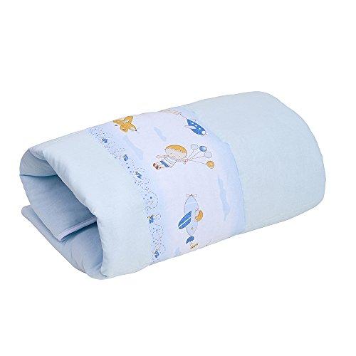 Edredom Para Berço Dupla Face Estampado, Papi Textil, Azul, 1.30Mx85Cm