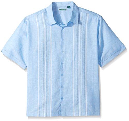 Cubavera Men's Big Short Sleeve Linen-Blend No-Pocket Button-Down Shirt with Panels, Little Boy Blue, 4X-Large ()