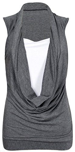 Girls Walk Women's Plus Size Ruched Cowl Neck Vest 2 In 1 Tunic Sleeveless Jersey Tank Top Cowl Neck Tank Dress