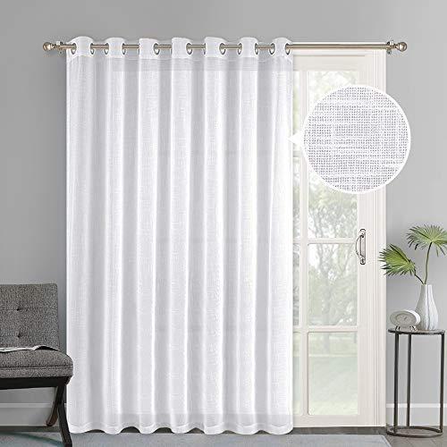 NICETOWN Linen-Like Patio Door Curtains - Extra Wide Grommet Top Semi Voile Drape Sheer Panels for Sliding Glass Door, White, W100 x L84, 1 Panel (Wide Door Curtains Patio Extra)