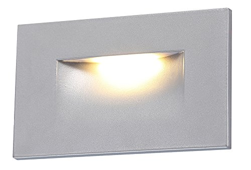 Cloudy Bay Silver Finish LED Step Light,Indoor Outdoor Stairway Deck Lighting,3000K Warm White Stair (Bay 1 Light)