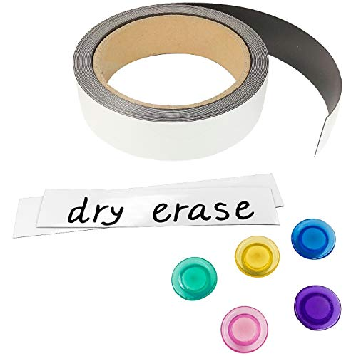 Masacana - Write on Magnets, Dry Erase Magnetic Strip Label Roll, 25 Feet Long x 1 Inch Wide, Comes with 5 Fridge Magnets, Premium Quality Magnets Labels for Shelves, Filing Cabinet, Whiteboard