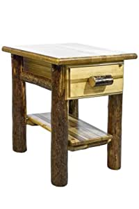 Montana Woodworks Glacier Country Collection Nightstand/End Table with Drawer and Shelf